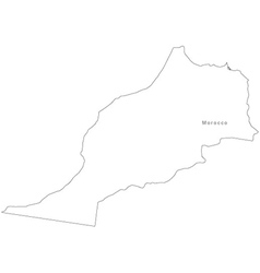 Black White Morocco Outline Map vector image