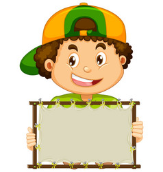 Blank sign template with cute boy on white vector