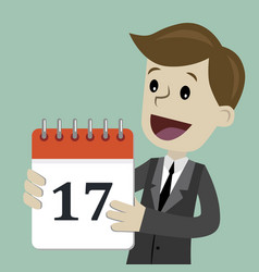 Businessman or manager hold a calendar on his hand vector