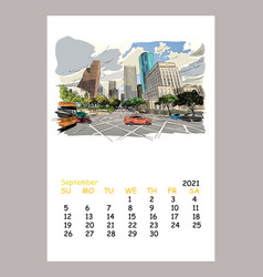 Calendar sheet layout september month 2021 year vector