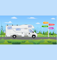 camper van on city background vector image