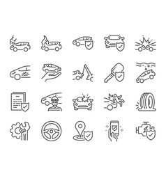 car insurance icon set vector image
