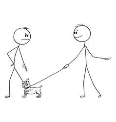 Cartoon angry man with small aggressive dog or vector