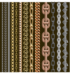Chains link elements seamless metal chain vector