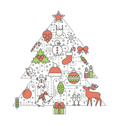 christmas tree flat thin line icon set vector image