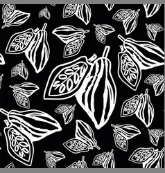 cocoa beans pattern on black background vector image