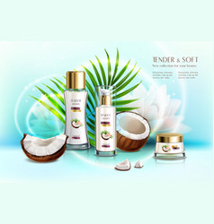 coconut cosmetics realistic composition vector image