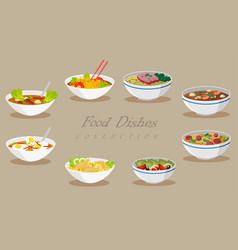 collection of food products tasty soups and vector image