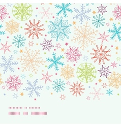 Colorful doodle snowflakes horizontal border vector