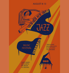 Colorful jazz poster with piano and pianist vector