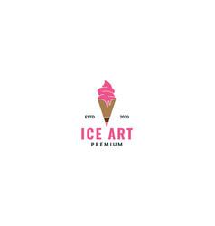 Cone ice cream with pencil logo design vector