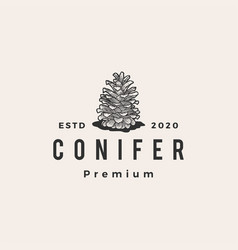 conifer hipster vintage logo icon vector image