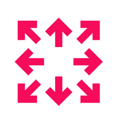 crimson arrows in 8eight different directions vector image