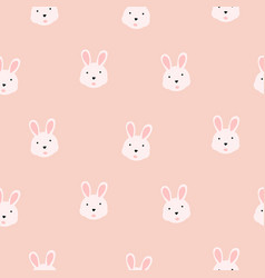 Cute bunny girlish pink seamless pattern vector