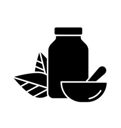 Cutout silhouette jar pills two leaves on vector