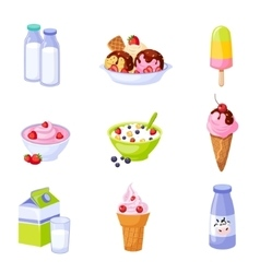 Dairy Products Assortment Set Of Isolated Icons vector image