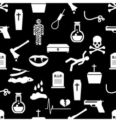 death theme set of black simple icons seamless vector image