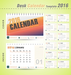 Desk calendar 2016 modern design cover template vector image