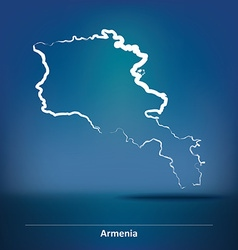 Doodle Map of Armenia vector