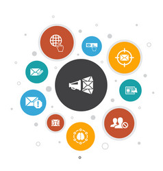 Email marketing infographic 10 steps bubble design vector
