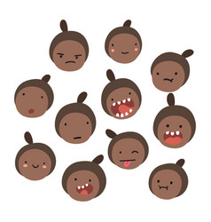 emoji black girl emotions vector image
