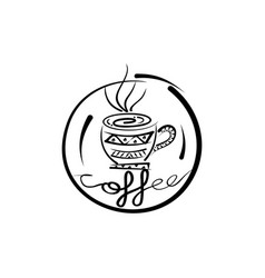 ethnic pattern coffee shop vector image