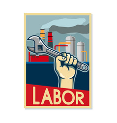 Factory labor poster in beige color vector