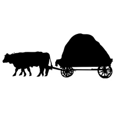 Farm animals bulls a cart vector