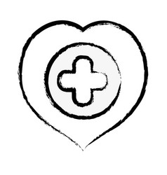 Figure heart with cross symbol inside to helthcare vector