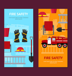 Firefighter profession equipment and tools banner vector