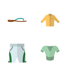 Flat garment set of trunks cloth banyan beach vector
