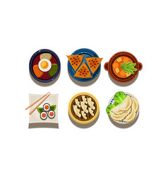 Flat set of cartoon food icons chinese and vector