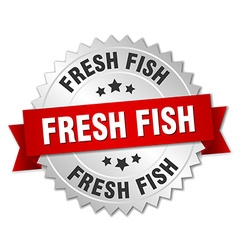 Fresh fish 3d silver badge with red ribbon vector