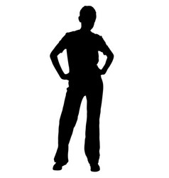girl in sport trousers posing silhouette vector image