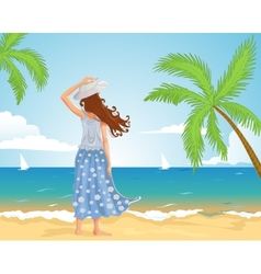 Girl on the beach vector image
