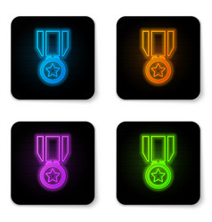 glowing neon medal with star icon isolated on vector image