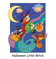 Halloween cute witch flying on a broomstick vector