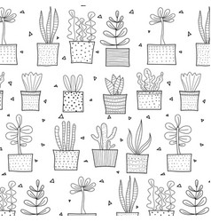 hand drawn tropical cactus pattern vector image