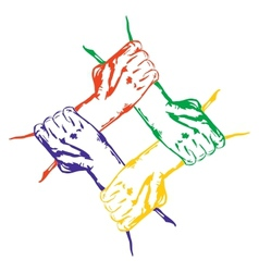 hands holding each other in unity Multiracial vector image