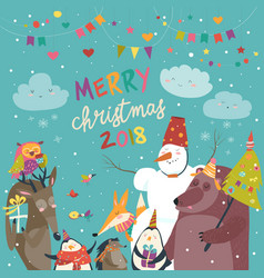 happy animals celebrating christmas vector image