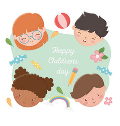 happy childrens day smiling kids faces with pencil vector image