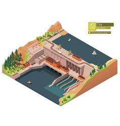 isometric hydroelectric power station vector image