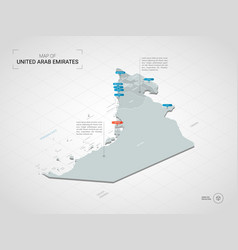 isometric united arab emirates map with city vector image
