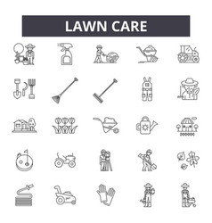 Lawn care line icons signs set outline vector