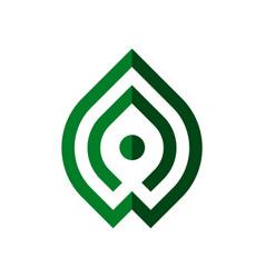leaf logo template with modern line art symbol vector image