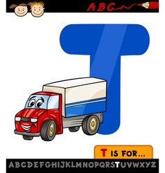 letter t with truck cartoon vector image
