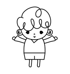 Line cute boy child with curly hair vector