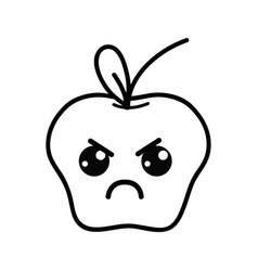 Line kawaii cute angry apple fruit vector