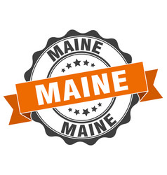 Maine round ribbon seal vector