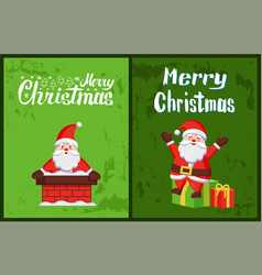 merry christmas santa claus look out chimney pipe vector image